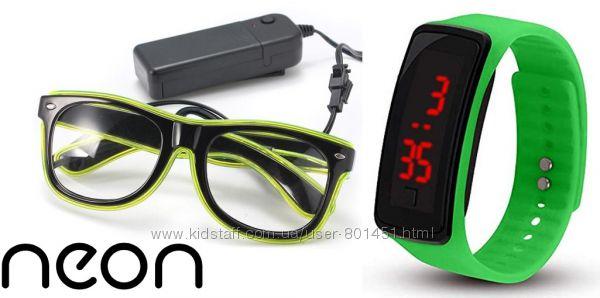 Очки neon прозрачные el neon fluorescent  часы