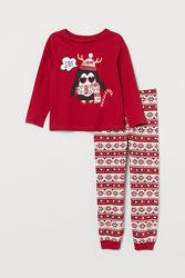 Пижама H&M с пингвином на 2 4 года на рост 98 104