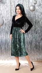 Нарядная велюровая юбка с плиссировкой размер 42, 44, 46, 48 код 5822