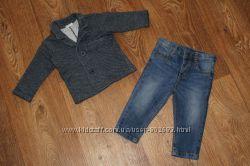 Стильный комплект кардиган и джинсы Benetton на мальчика 6-9мес. 68см.