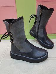 Кожаные зимние ботинки Masheros 30-37р 2622