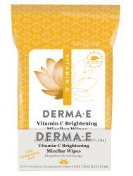 Влажные салфетки для лица с мицеллярной пропиткой и витамином C Derma E США