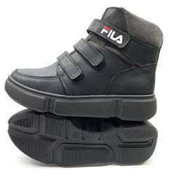 Детские подростковые зимние ботинки чёрные Fila