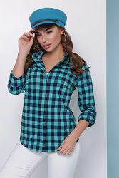 Женская рубашка в клетку коттон 42-50 Новинка