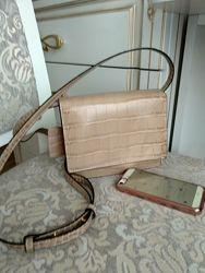 Шикарная маленькая  кожаная женская сумочка Италия качество люкс , новая