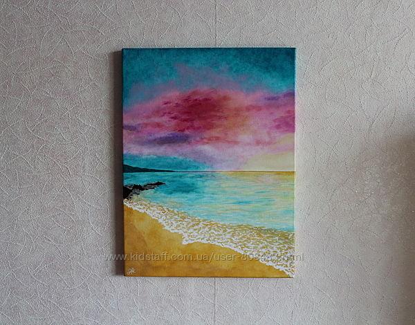 Картина акрилом Закат солнца