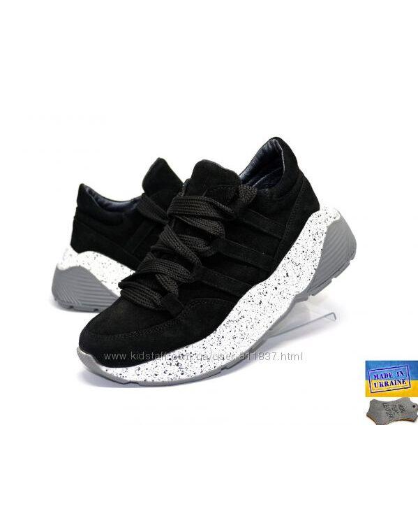 Замшевые стильные кроссовки 33р. Арт. 3513 черный
