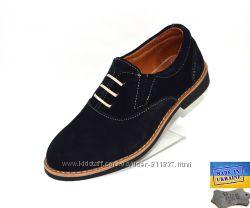 Детские замшевые туфли. Арт. 3929 синий замш