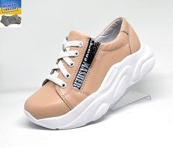 Кожаные кроссовки ТМ Masheros. Арт. 249 беж.