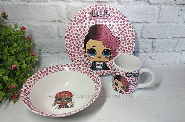 Детский набор посуды с героями мультиков. Ассртимент Керамика