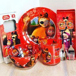 Набор детской посуды с приборами с героями мультиков