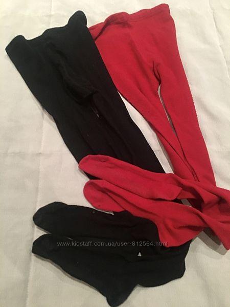 Комплект из двух пар теплые колготки Германия Черные, красные колготы