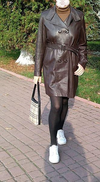 Женский кожаный плащ коричневый из натуральной кожи р. 38-40 madao кожаное