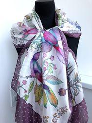 Шелковый шарф Райские птицы, натуральный шелк.