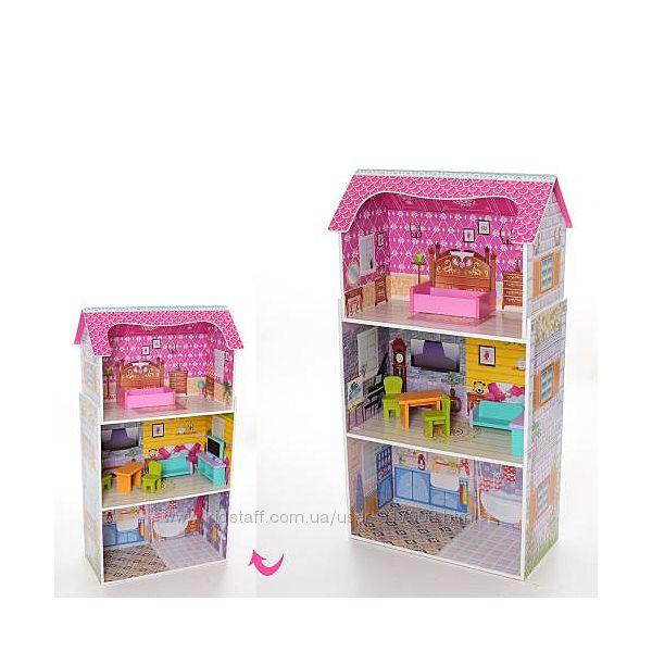 Дом 1549 кукольный игрушечный деревянный с мебелью