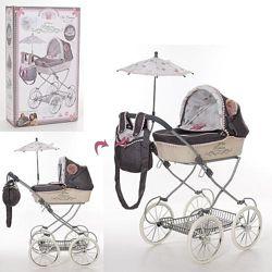 DeCuevas Reborn 81031 колясочка для кукол игрушечная с зонтиком люлька