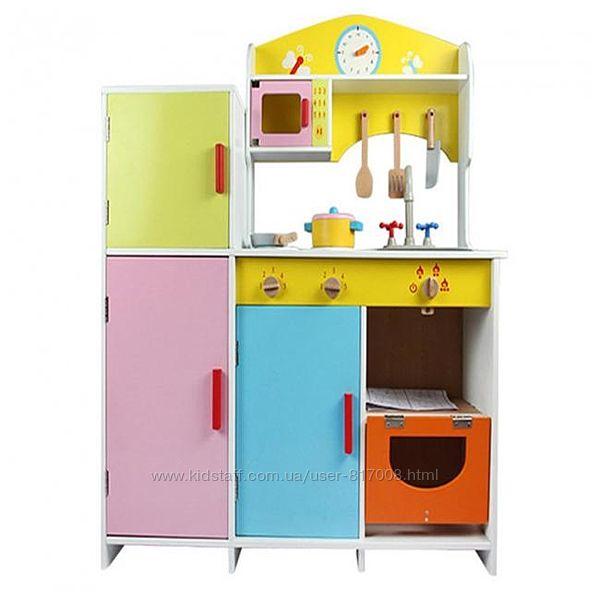 Кухня деревянная 21378 с посудой игрушечная