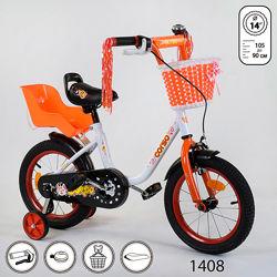 Корсо 14 дюймов велосипед детский двухколесный corso с сидением для куклы