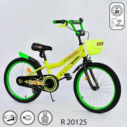 Корсо R 20 дюймов велосипед двухколесный детский Corso с корзинкой