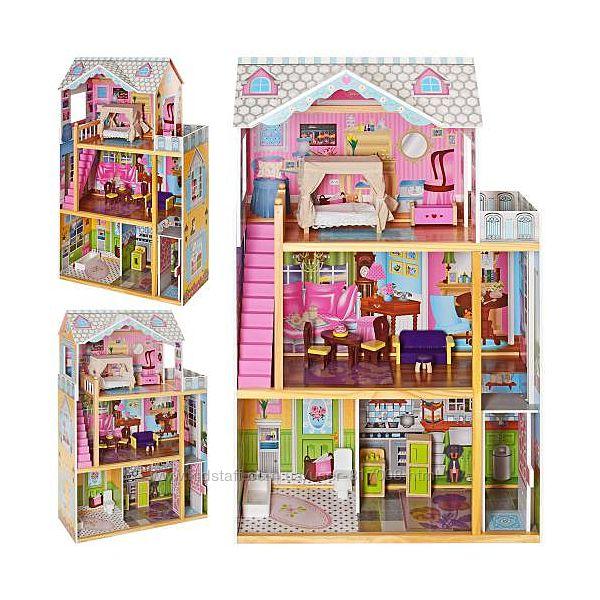 Дом игрушка 2252 для кукол из дерева с мебелью