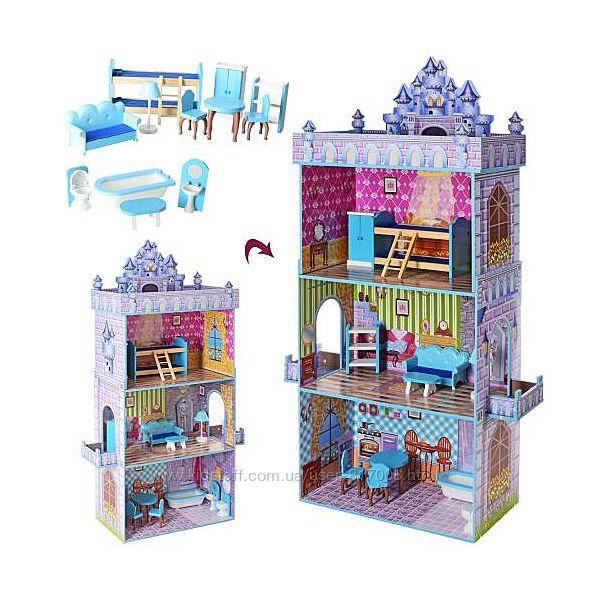 Кукольный дом замок 2410 игрушка из дерева с мебелью