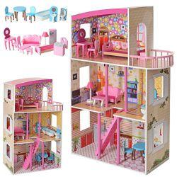 Деревянный домик для кукол 2411 с мебелью балконом