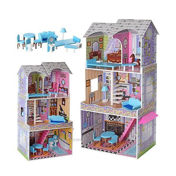 Домик для кукол 2412 деревянный с мебелью игрушка