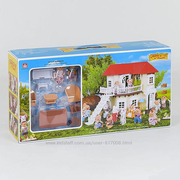 Домик 012-01 счастливая семья с животными мебелью игрушечный
