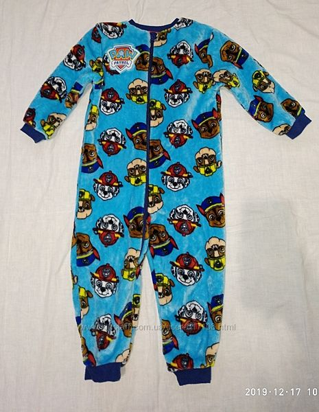 очень теплый Махровый человечек слип пижама кегуруми щенячий патруль 3-4 г.