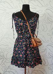 Летнее платье-сарафан с бретелями-завязками