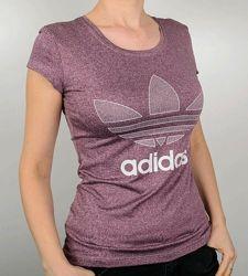 Футболки женские Adidas  меланж бордо, изумруд.