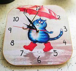 Часы настенные ручная работа Коты 2