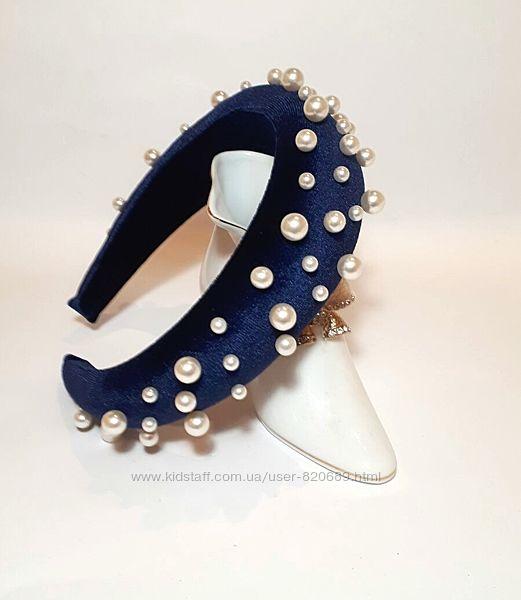 Обруч бархатный синий с жемчужинами