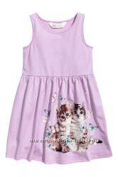 Хлопковый сарафан H&M Сиреневый с котиками