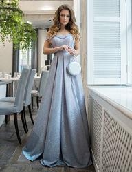Вечернее, шикарное, праздничное, выпускное платье в пол. Р. 36. Серебристое