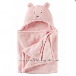 Большое плюшевое одеяло плед Carters капюшон-мишка