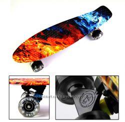 Пенни борд Fish Skateboards. Оригинал. Премиум серия с лого и LED колесами