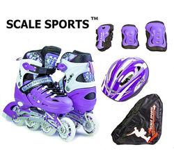 Ролики Scale Sports. Комплект с защитой и шлемом. 4 расцветки. Размер 29-37