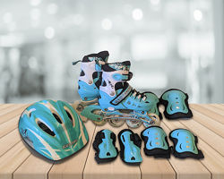 Ролики Scale Sports. Комплект с защитой и шлемом. 5 расцветок. Размер 29-37