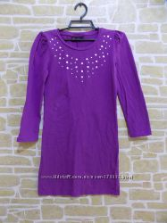 Платье трикотажное фиолетовое на рост 146 см