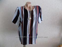 Кофта блузка свободного покроя нарядная в полоску фирменная Monki размер 48