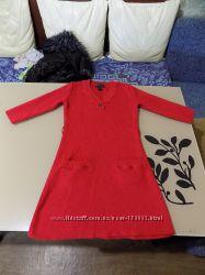 Платье красное теплое шерстяное с карманами фирменное MANGO на 9-10 лет