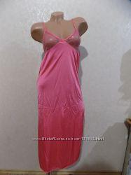 Ночнушка рубашка ночная розовая с ажурным лифом размер 46