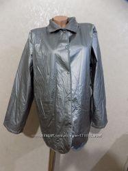 Серебристая непромокаемая куртка ветровка дождевик на стеганой подкладке ра