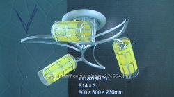 Люстра припотолочная с плафонами - трубочки, поворотные 3 рожка