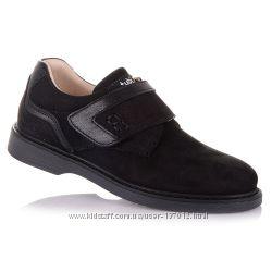 Школьные туфли черного цвета на липучке для мальчиков 37-40 р-р 11.5.98