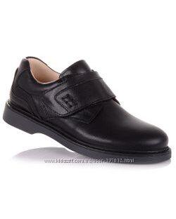 Школьные туфли из натуральной кожи на липучке для мальчиков 31-36 р-р 11.5.96