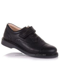 Школьные туфли из натуральной кожи на липучке для мальчиков 31-36 р-р 11.5.91