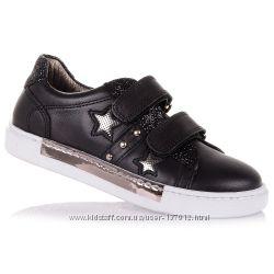 Черные кожаные кроссовки для школы для девочек 31-36 р-р 15.6.26