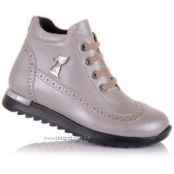 Демисезонные ботинки из кожи, на шнурках для девочек 26-30 р-р 14.3.178